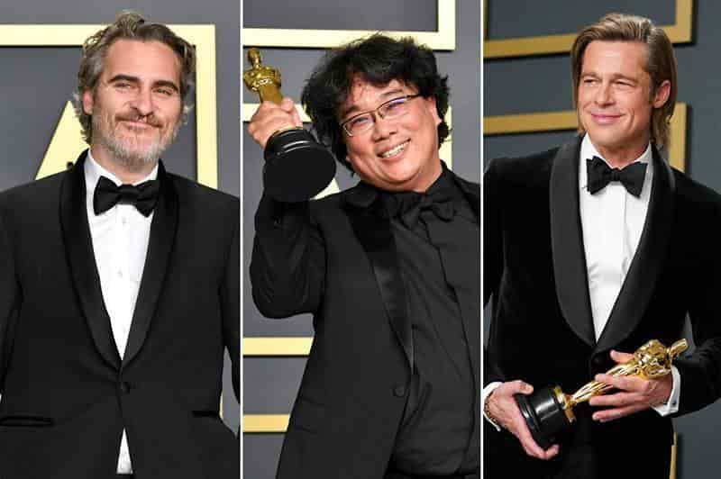 Joaquin Phoenix, Bong Joon Ho y Brad Pitt