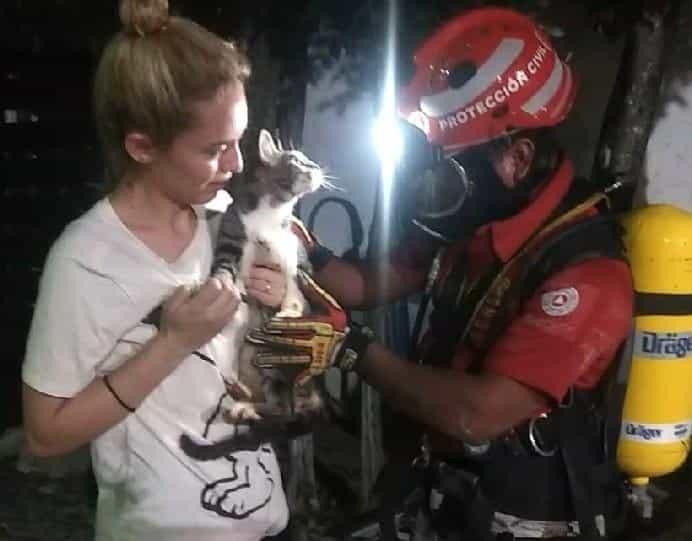 Rescataron a un gato que cayó hace dos días a una noria de entre 18 a 20 metros de profundidad