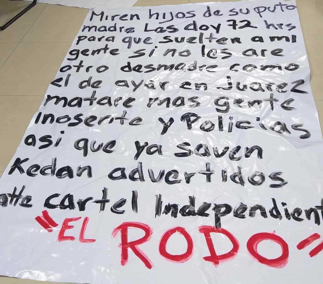 """A través de una """"narcomanta"""" un grupo independiente del crimen organizado, se responsabilizó de la masacre registrada la noche del martes en en Benito Juárez"""