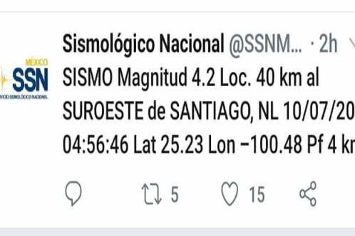 Se registra temblor en Galeana NL