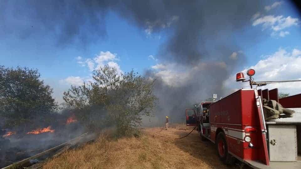 El incendio se registró en un pastizal en Montemorelos
