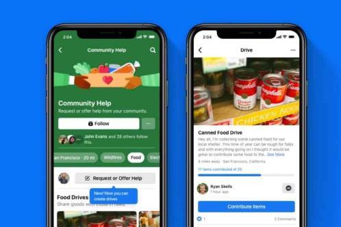 Facebook lanza Drives para ayudar a conseguir comida y ropa