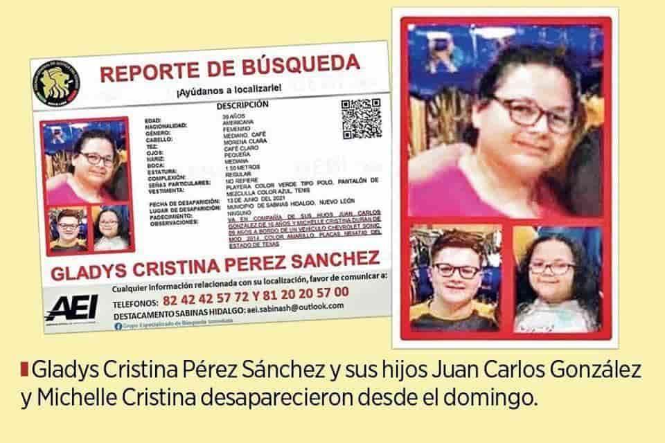 Una familia originaria de Sabinas Hidalgo, radicada en EU, se encuentra desaparecida