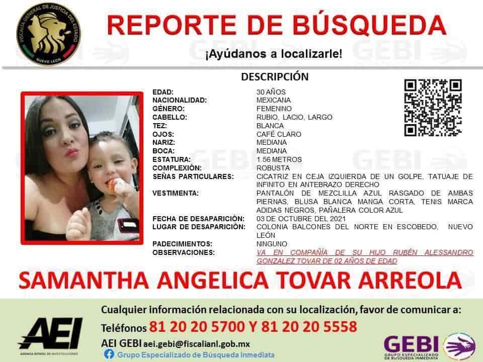 Intentan ubicar a una mujer que desapareció junto con su hijo de apenas dos años de edad