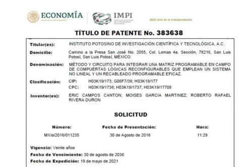 Profesor Tec va por su cuarta patente registrada