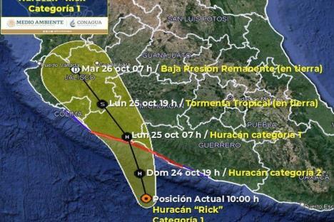 Huracán Rick provocará lluvias en Guerrero y Michoacán